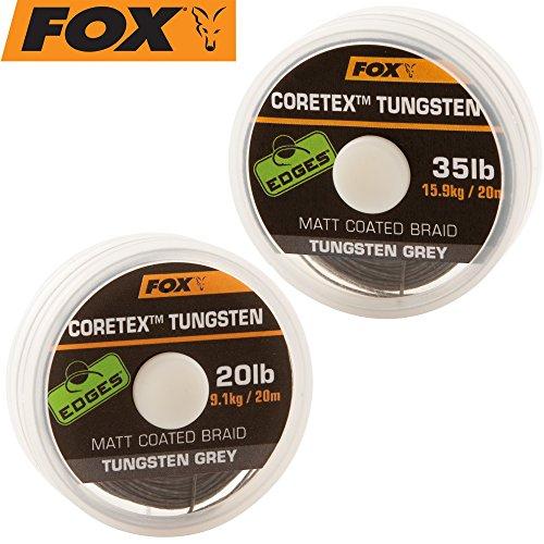 Fox Coretex Tungsten 20m - Vorfachmaterial Zum Karpfenangeln, Vorfachschnur für Kombirigs, Karpfenschnur für Karpfenmontagen, Tragkraft:15.9kg - 35lbs