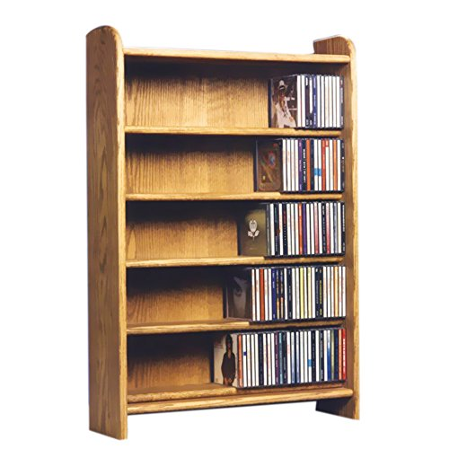 Cdracks Media Furniture Solid Oak 5 Shelf CD Cabinet Maximum Capacity 330 CD's Honey Finish