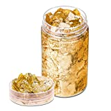 Gold Foil Flakes for Resin, Paxcoo 10 Grams Gold Foil Flakes Imitation Metallic Leaf for Nails, Painting, Crafts, Slime and Resin Jewelry Making (Gold Color)