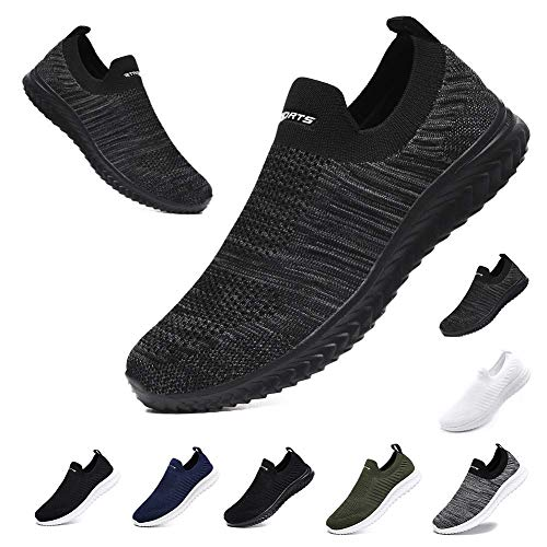CCEO Men's Breathable All Seasons Mesh Shoes Best Walking Shoes for Men Slip Resistant Lightweight Fly-Knit Tennis Running Sneakers Black Grey