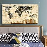 Cuadros decorativos Arte de la pared de la lona Pintura al óleo Clásico Retro grano de madera Mapa d...