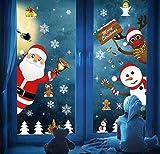 DURINM Natale Adesivi Porta Natale Vetrofanie Addobbi Fai da Te Finestra Sticker Decorazione Babbo Natale Adesivo Vetrina Wallpaper Adesivi