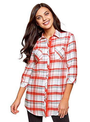 oodji Ultra Mujer Pijama Camisa de Algodón, Rojo, ES 40 / M