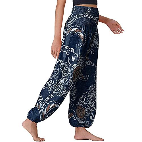 URIBAKY - Pantaloni da donna chic Boho da yoga, ampi pantaloni da pigiama Hippie Lounge, vita alta, elasticizzati, a compressione, sport, fitness, yoga, running, jogging, A-blu, M