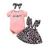 Borlai Conjunto de Ropa de Vestido de Mameluco con Volantes de Manga Corta con Falda de Tirantes Florales para niña recién Nacida (Rosa-A, 0-3 Meses)