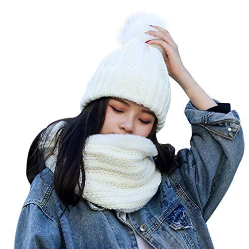 Shinehua 2 stuks gebreide muts hoed en sjaal winter warme muts met pompon en cirkel crew halsdoek met fleece voering voor vrouwen Wegwerp verpakking