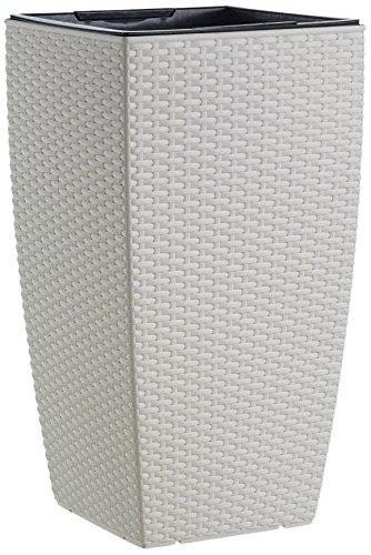 Emsa 514497 Blumenkübel für Outdoorbereich, Säule, 66 cm, Selbstbewässerungssystem, Weiß, Casa Mesh