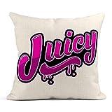Kinhevao Throw Pillow Brush Frase de Letras jugosas para Emblema Fruta Fresca Saludo Tinta Cojín de Lino Almohada Decorativa para el hogar