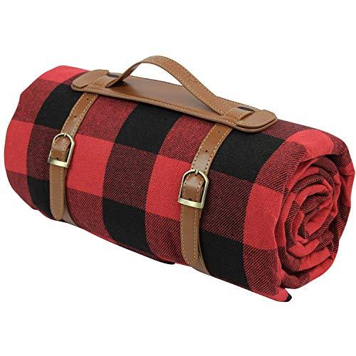 220x170cm übergroße Picknickdecke, wasserdichte Strandmatte, extra großer Outdoor-Teppich für Camping Red Checkered