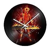 HHKLSF Skull Piano Vinyl Record Reloj De Pared Reloj De Sala Reloj Redondo De Fuego Relojes Colgantes Mecanismo Silencioso Decoración del Hogar