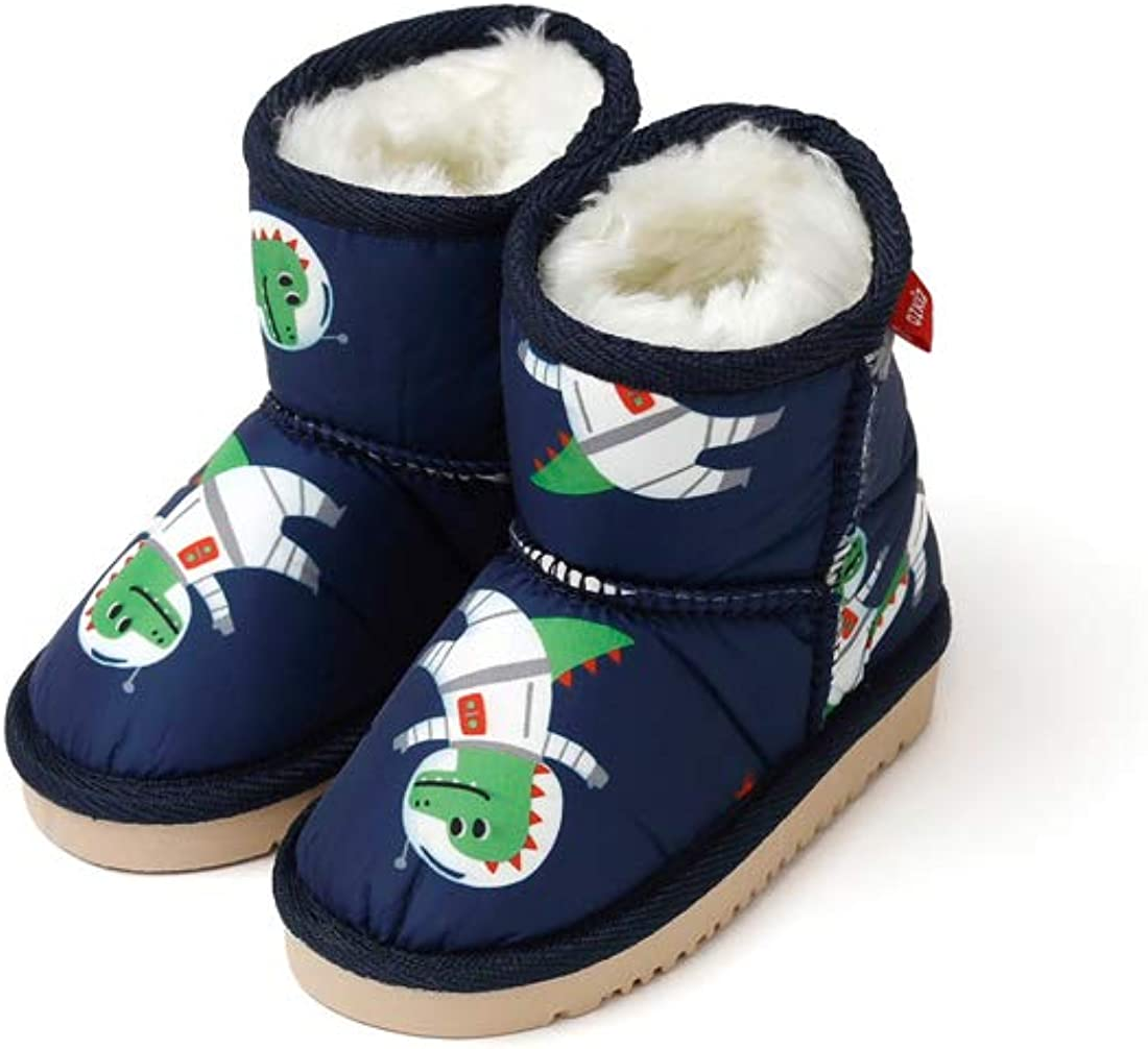 Ozkiz 'Space Dinosaur' Winter Warm Fleece Boots for Boys_Navy, US Size 7~11