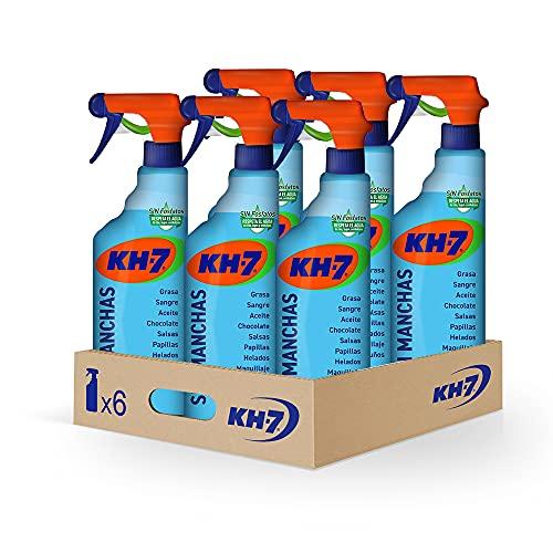 KH-7 Sin Manchas-Máxima Eficacia, Elimina sin Esfuerzo las Manchas más Difíciles, Fórmula sin Lejía, Repecta los Tejidos y los Colores, Formato Pulverizador, Cómodo y Rápido-Pack de 6 unidades x750 ml