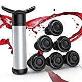 VersionTECH. Wine Saver, Wine Stoppers Set, Wine Vacuum Pump with 6 Valve Air Bottle Stoppers, Wine Preserver Tool for Prevent Wine Oxidation, Keep Wine Fresh