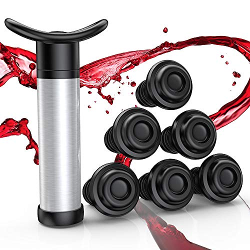VersionTECH. Juego de tapones para botella de vino, bomba de vacío para vino con 6 tapones para botella de aire, herramienta para evitar la oxidación del vino, mantiene el vino fresco