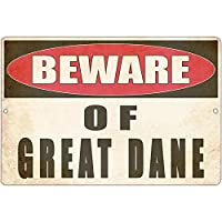 グレートデーンドッグヤード屋外警告柵レトロメタルブリキサインプラークポスター壁の装飾アートぼろぼろのシックなギフトに注意してください-20x30cm
