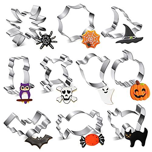 Formine Biscotti Halloween Set di 10 Stampini Biscotti Halloween con Forme di Zucca, Ragnatelo, Pistrello, Gatto, Cappello da Strega, Ragno per Biscotti Frutta Torta Festa Halloween