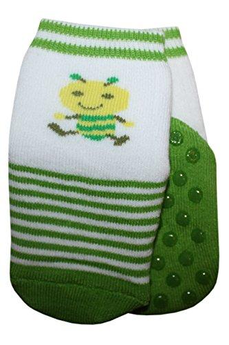 Weri Spezials Baby-Unisex Terry ABS-Punten Bee Slippers Anti Non Slip Sokken Groen