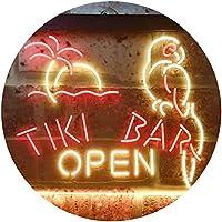 Tiki Bar Open Parrot Dual Color LED看板 ネオンプレート サイン 標識 赤色 + 黄色 600 x 400mm st6s64-i3311-ry