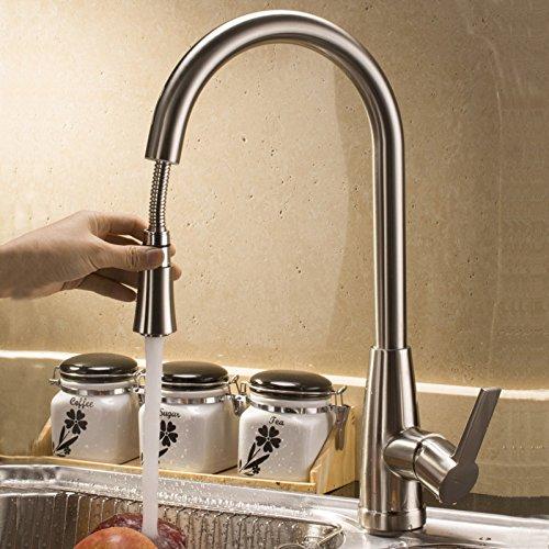 AZOS–Grifo para fregadero de cocina libre giratorio Pull Out Spray sola manija latón grifo mezcladores níquel cepillado acero inoxidable color