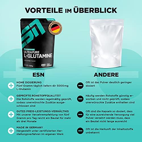 ESN Ultrapure L-Glutamine Powder, Pro Series, 1er Pack (1 x 500g Beutel) - 3
