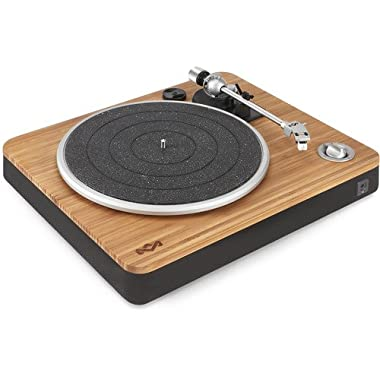 House of Marley Stir It Up Turntable - 45/33 RPM, USB jack in back for analog to PC recording, Replaceable Cartridge, Bamboo Plinth, EM-JT000-SB Signature Black