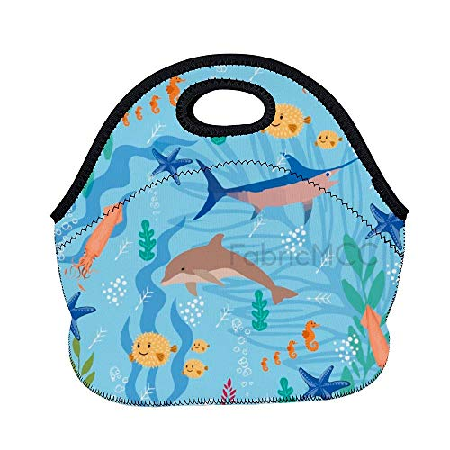 Bolsa de almuerzo de 11.8 x 11 x 6.3 pulgadas, organismo, figura de animal, biología marina, ilustración, arte, lonchera, lonchera, lonchera, bolsa de comida aislada de neopreno