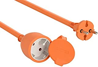 Electraline 1357 01357 Verlengsnoer voor de tuin, 30 m, witte kunststof kabel, IP20, verlengkabel met kinderbeveiliging, E...