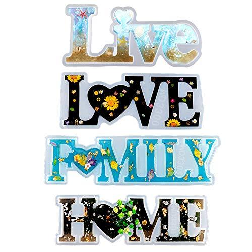 Aiboria Live Love Home Family - Stampi in resina epossidica per decorazioni fai da te (4 pezzi)