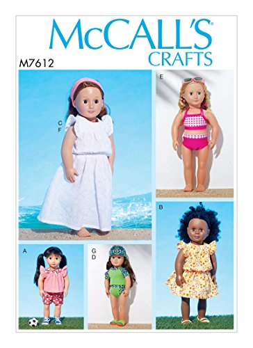 McCall 's Schnittmuster mp604/m7612–45,7cm Puppe Top, Shorts, Badeanzug, Kleider, Haarband und Gap, OSZ (One Size)