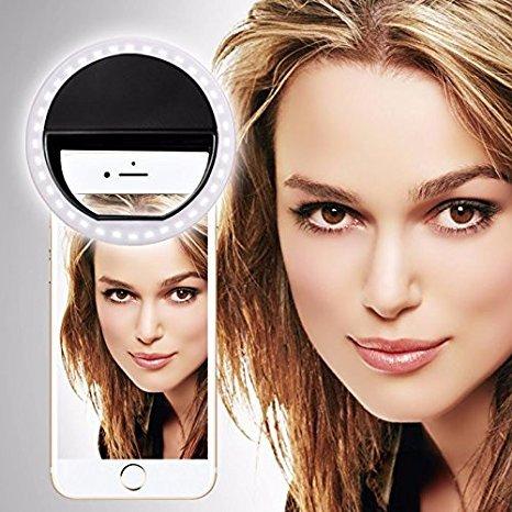 SISWOO R9 DARKMOON (Schwarz) Clip auf Selfie Ringlicht, mit 36 LED für Smartphone Camera R&e Form, von I-Tronixs
