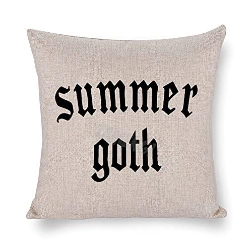Summer Goth Tank Top, cojín de lino y algodón acogedor, fundas de almohada, funda de cojín decorativa de lino de algodón para sofá, dormitorio, fundas de almohada de 45,7 x 45,7 cm
