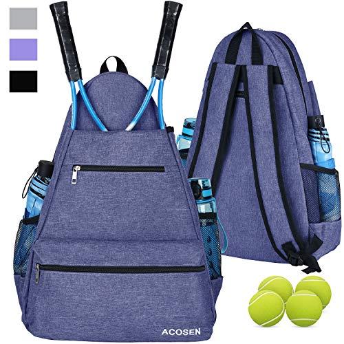 Acosen Tennis-Tasche | Tennis-Rucksack – große Tennis-Taschen für Damen und Herren für Tennisschläger, Pickleball-Paddel, Badmintonschläger, Squashschläger, Bälle und anderes Zubehör, violett