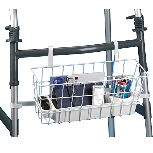 Deluxe Walker Basket, Walker Accessory for Taking Medicine, TV Remotes, Phones, and Other Personal Items On the Go