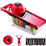 6 in 1 Fruit and Vegetable Slicer, Multi Function Veg Cutter, Interchangeable Stainless Steel with...