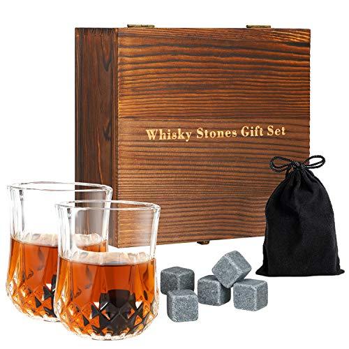 Whiskey Steine Geschenkset Whisky Stones,8 Chilling Rocks mit 2 Whisky Gläsern & Taschen Cocktail Maker in Holz Geschenkbox Whiskey Zubehör Wiederverwendbare Kühlung Whiskysteine Granit für Party