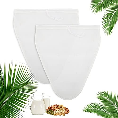 HC Nussmilchbeutel Passiertuch für Nussmilch Nylon Feinmaschig Filterbeutel Nussmilchbeutel Bio Waschbar Filtertuch für Mandelmilch Kaffee Fruchtsaft (2 Stück)