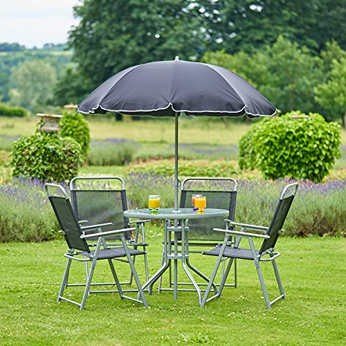 SA Products 4-Seat Garden Bistro Furniture Set - Four Steel & Textilene Chairs - Tempered Glass Round Table with Parasol Umbrella for Al Fresco or Outdoor Dining - For Patio, Backyard, Poolside, Lawn
