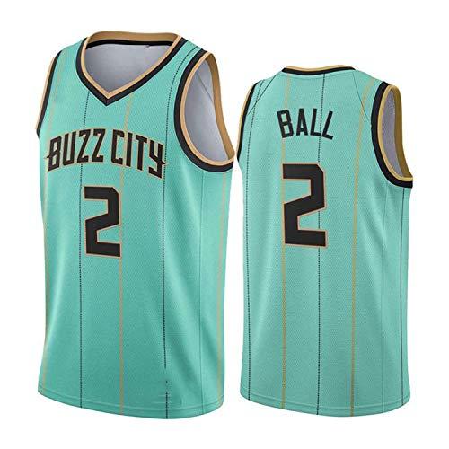 XZWQ Camisetas De Baloncesto para Hombre: NBA Charlotte Hornets # 2 Lamelo Ball Camisetas Unisex Edición Jersey Malla Bordada Baloncesto Swing Camiseta para Hombre,Azul,XL