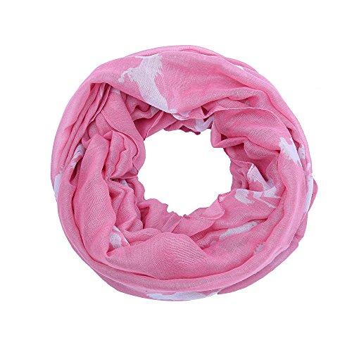 AnJuHoPa AnJuHoPa Halstuch Loop Schal Schlauchschal Pferdmotiv gewebt Viskose frische Farben Damen rosa