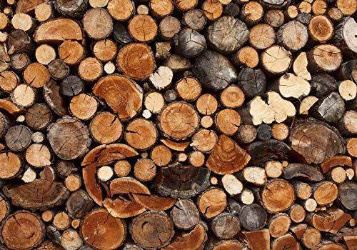 wandmotiv24 Fototapete Holz Holzoptik Holzstapel, L 300 x 210 cm - 6 Teile, Fototapeten, Wandbild, Motivtapeten, Vlies-Tapeten, Brennholz, Kamin, Ofen M0706