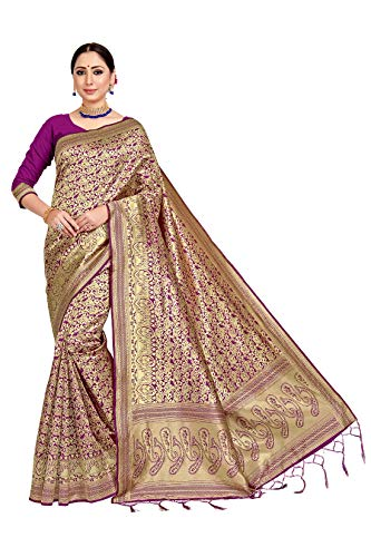 IDIKA Sarees for Women's Banarasi Art Silk Woven Sari With Blouse Piece