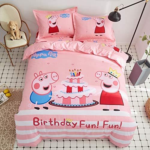 yaonuli Baumwolle Cartoon vierteilige aktive Drucken und Färben von Baumwolle Kinderbettwäsche Kits Bettwäsche 1,5 m Bettbezug 200 * 230 cm