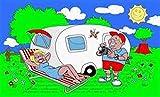 FRIP - Camping mit Wohnwagen Fahne 1,50 x 0,90m Flagge Fahnen mit 2 Ösen 4547