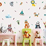 Stickers Muraux Animaux de Jungle,Autocollant Muraux Animal pour Chambre Enfants,Autocollant Mural Lion Tigre Raton Laveurde Dessin Animé,Sticker Animal de Fille Garçon Chambre Salle de classe Décor