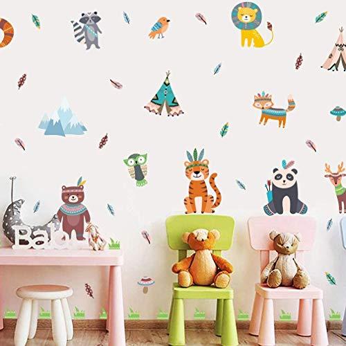 Pegatinas de pared de animales de Jungle para habitación infantil, diseño de león y tigre