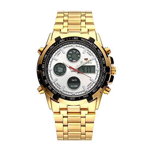 Festnight Hombres Reloj Multifuncional con Pantalla Doble Reloj de Pulsera Digital de aleación de Moda Reloj Deportivo Impermeable