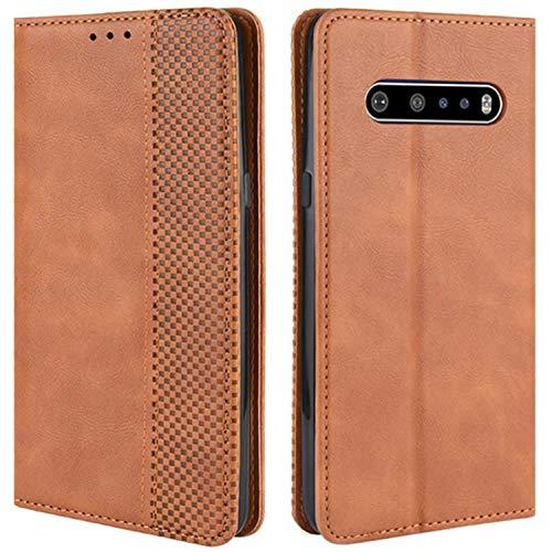 HualuBro Handyhülle für LG V60 ThinQ Hülle, Retro Leder Stoßfest Klapphülle Schutzhülle Handytasche LederHülle Flip Hülle Cover für LG V60 ThinQ 5G Tasche, Braun