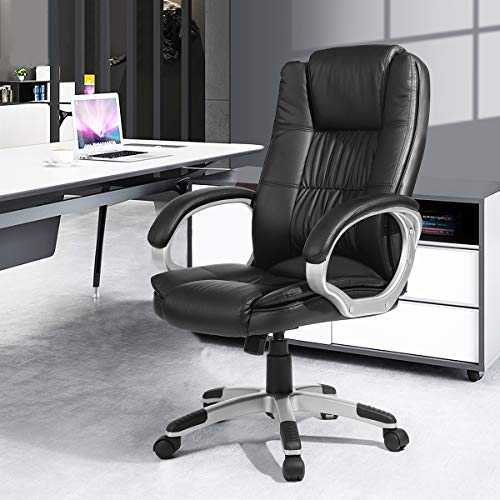 Geniqua High-Back Ergonomic Office Racing Executive Chair Leather Cushion w/Arms Desk