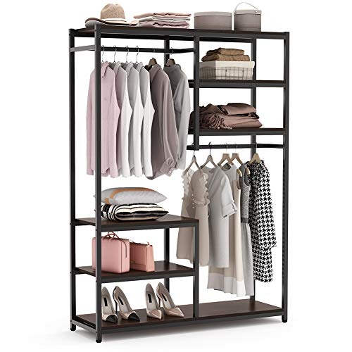 Tribesigns Free standing Closet Organizer Double Hanging Rod Clothes Garment Racks with Storage Shelves Heavy Duty Metal Closet Storage Clothing Shelving for Bedroom Capacity 250 lbs