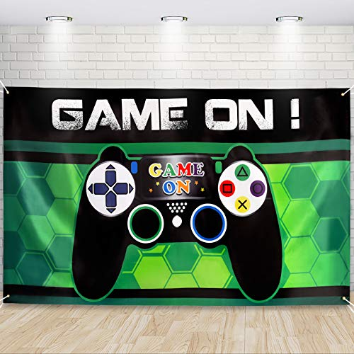 Video Game Backdrop 73'' x 43'' - Gaming Theme Party Decorations for Boys Kids Birthday Party...